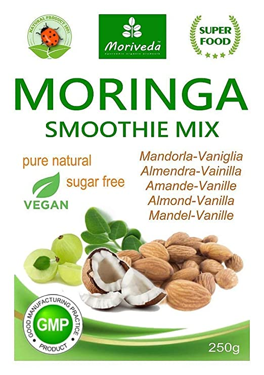 Batido de polvo de moringa, potenciador de energía, batido de vitaminas, batido de proteínas - diferentes sabores - 100% natural y vegano, sin azúcar* (250 ...
