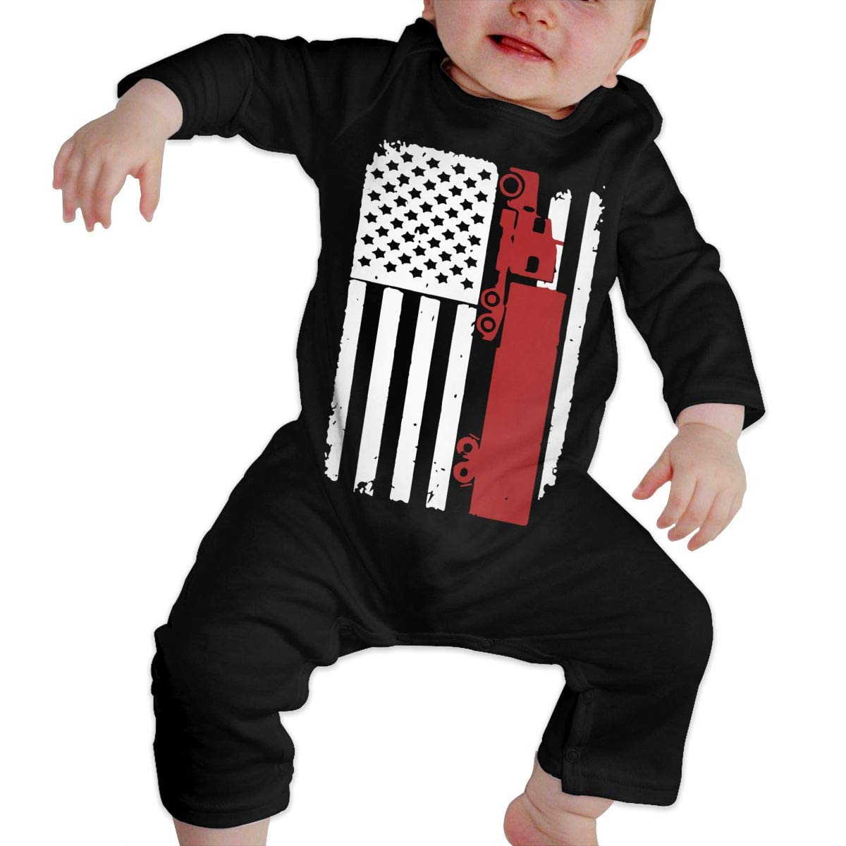A1BY-5US Infant Baby Girls Cotton Long Sleeve Trucker American Flag Climb Jumpsuit One-Piece Romper Clothes