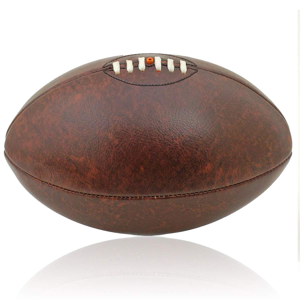 British Sports Museum Vintage Leather-Look PU Lace-up Rugby Ball