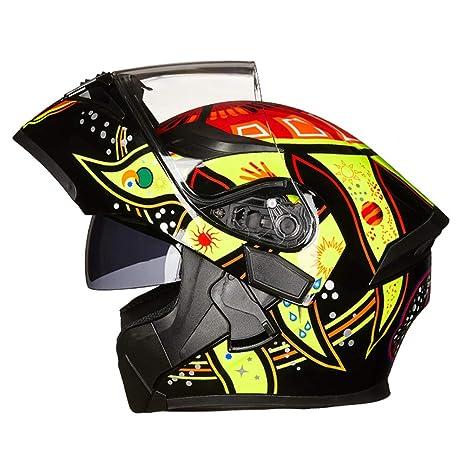 Off-Road Moto Motocicleta Casquillo abatible Unisex Adultos Antiincrustante Doble Lente Cascos integrales Motocross Gorras