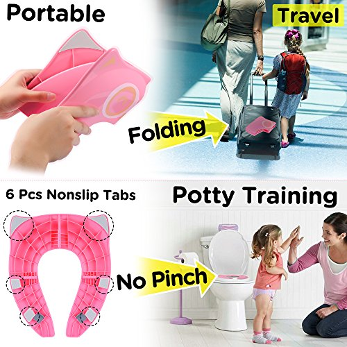 Large Product Image of Gimars Upgrade Folding Large Non Slip Silicone Pads Travel Portable Reusable Toilet Potty Training Seat Covers Liners with Carry Bag for Babies, Toddlers and Kids, Pink
