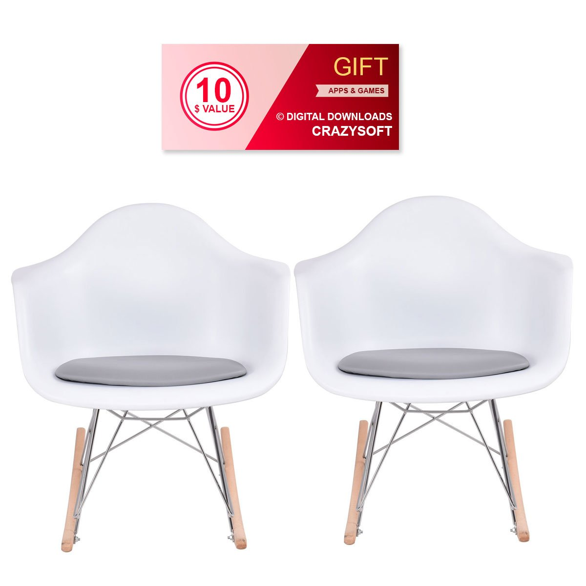 Set of 2 Modern Plastic Rocking Chair - By Choice Products