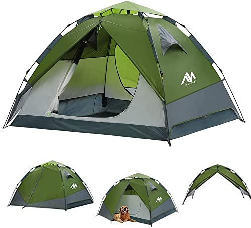 Pop Up Tents for Camping 3-4 Person Automatic Setup – AYAMAYA 2 in 1 Design Double Layer Waterproof Instant Popup Tent – 2 Doors Quick Easy Set Up Family Camping Tent Survival Emergency Shelter