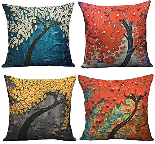 Geepro 18x18 inches Oil Painting Linen Pillow Case Covers Square Decorative Cushion Covers Set of 4