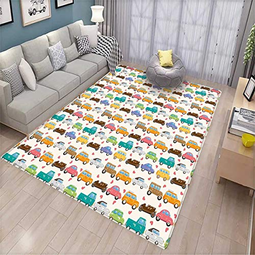 Kids Anti-Skid Rugs Vintage Cars Collection in Vivid Colors with Little Hearts Transportation Old Times Girls Rooms Kids Rooms Nursery Decor Mats (Vegas Sofa Collection)