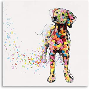 "B BLINGBLING Dog Picture Frame Living-Room Decor: Cute Dalmatian with Colorful Dots on a Vintage Background Girls Room Decor Easy to Hang (24""x24""x1 Panel)"