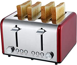NAFE 4 Slices Toaster, Stainless Steel Automatic Toaster Electric Oven Toaster Breakfast Machine Baking Heating Bread Machine-red