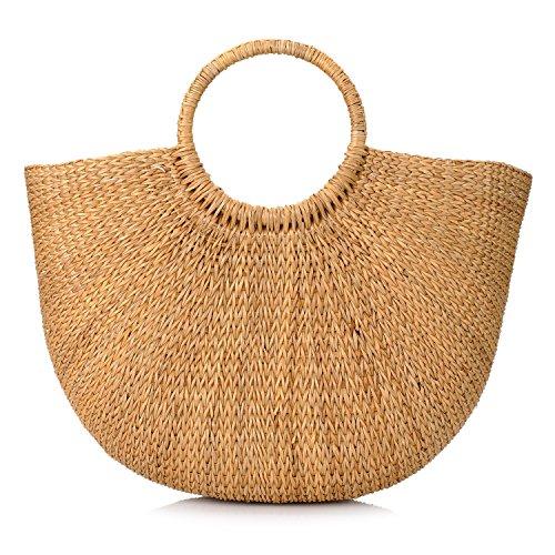Manija redonda elegante tejida a mano del anillo de la manija de la paja Bolsas retros grandes ocasionales de la playa de las mujeres del verano Yellow Grass