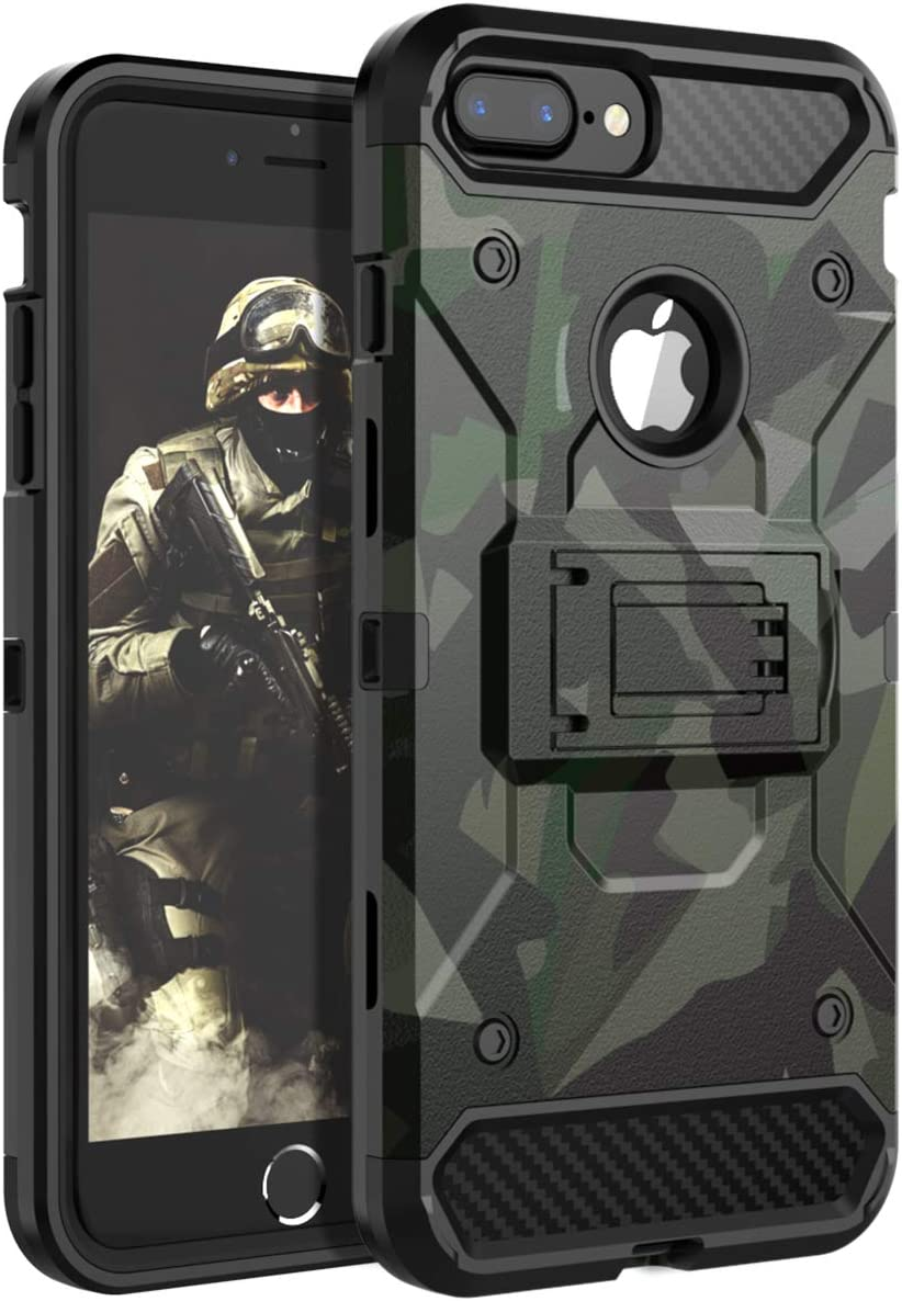 HUATRK iPhone 8 Plus Case,iPhone 7 Plus Case,iPhone 6 Plus Case,iPhone 6s Plus Case Kickstand Three Layer Heavy Duty Shockproof Protective Camo Cover,Camouflage Green