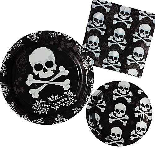 Halloween Skull Party Bundle For 8: Paper Dinner Plates, Dessert Plates, & (Haloween Spirit)