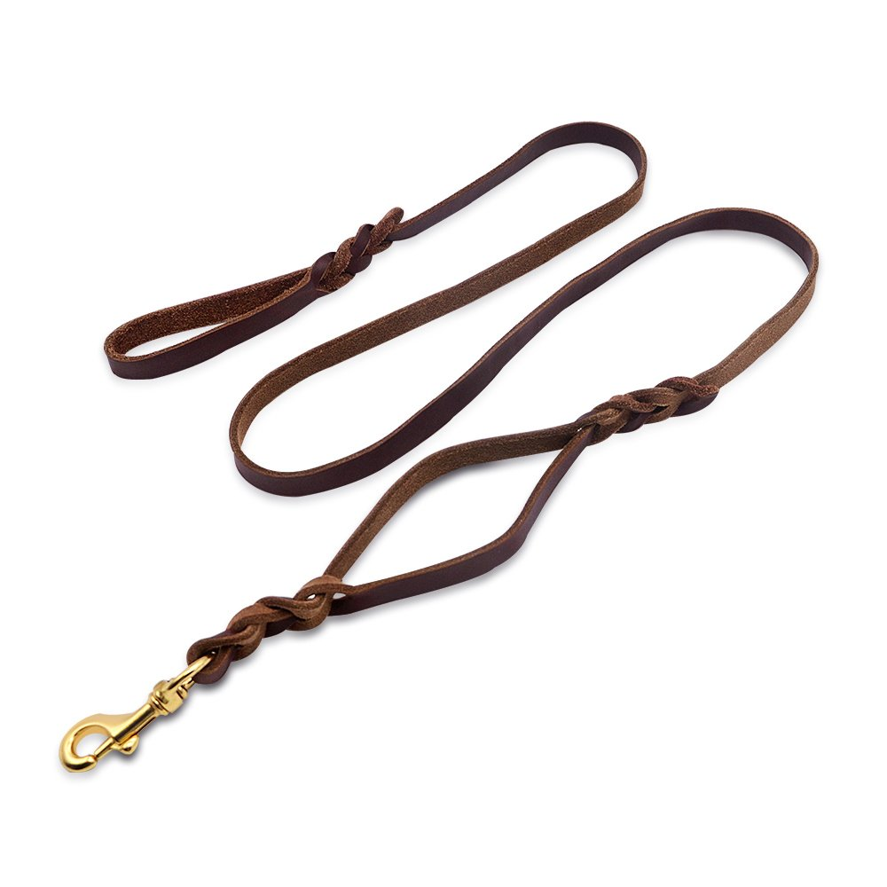 Wellbro Double handle Leather Dog Leash, 6 Foot Braided Dog Training Leash, Soft and Deluxe Pet Walking Lead with Copper Hook, For Safe Control of Medium/Large Dogs, Brown