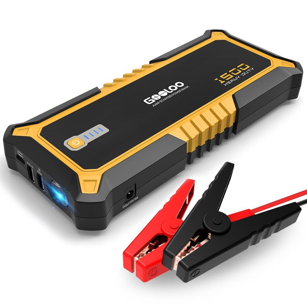 GOOLOO Auto Starthilfe 12V 1500A Spizenstrom 19800mAh 73Wh Tragbare Autobatterie Starthilfe Schnells