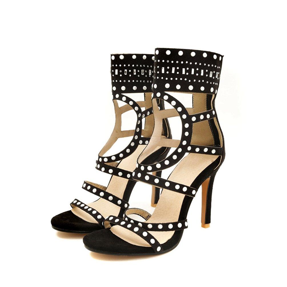 Damen es High Heel Sandale-Offene Zehen Knouml;chel Stiefel-zuruuml;ck Zipper Heels Dress Shoes-Sexy Party Pump  43 EU|Schwarz