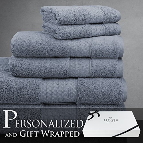 Luxor Linens - 6-Piece Bath Towel Set - Mariabella Collection - Luxurious Super Soft & Fade Resistant 100% Turkish Cotton -Available in Various Colors & 7 Different Embroidery Styles by Luxor Linens