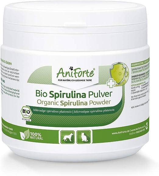 AniForte Espirulina Bio en polvo de para perros y gatos 250g - Las microalgas ayudan a la piel y pelaje, así como al sistema inmunológico y a los procesos metabólicos: Amazon.es: Productos