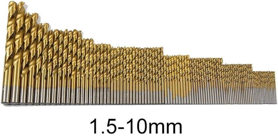 SHENYUAN 99pcs Titanium Coated Drill Bit Set 1.5-10.0mm High Speed Steel Twist Drill Bit for Woodworking (Color : 99PCS drill bit) 99pcs Drill Bit