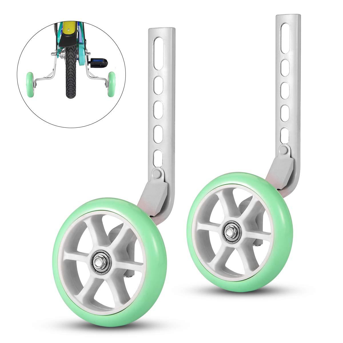 ZOSEN - Ruedas de Entrenamiento para Bicicleta, estabilizador de Bicicleta para niños, Accesorio Esencial para Bicicleta de 12 14 16 18 20 Pulgadas (Verde ...