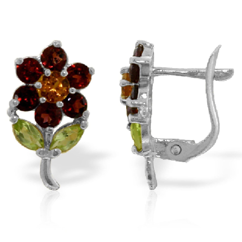 ALARRI 2.12 Carat 14K Solid White Gold Flower Stud Earrings Garnet, Citrine P