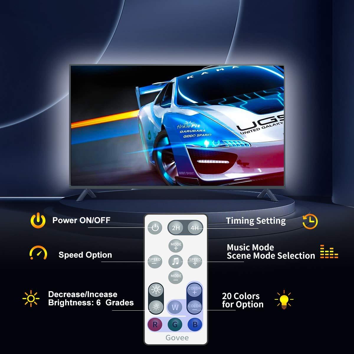 MEHRWEG 32 Farben 7 Szenen-Modi Stimmungsbeleuchtung LED Streifen LED TV Hintergrundbeleuchtung Govee 3M USB LED Strip Lichtband mit Fernbedienung f/ür 40-60 Zoll LED Beleuchtung Fernseher