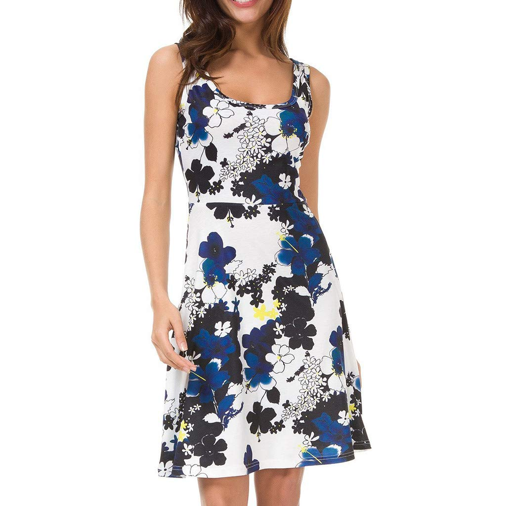 Women's O Neck Short Dress Floral Print Swing Mini Dress Sleeveless Zip Up Summer Beach Dress with Belt(Blue,XL)