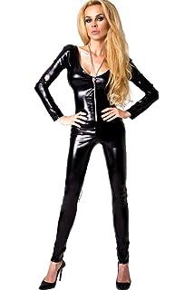 334c25b5f48a87 Schwarzer Wetlook-Overall Damen Catsuit Kitty mit Reisverschluss und  Schnürungen S/M von 7