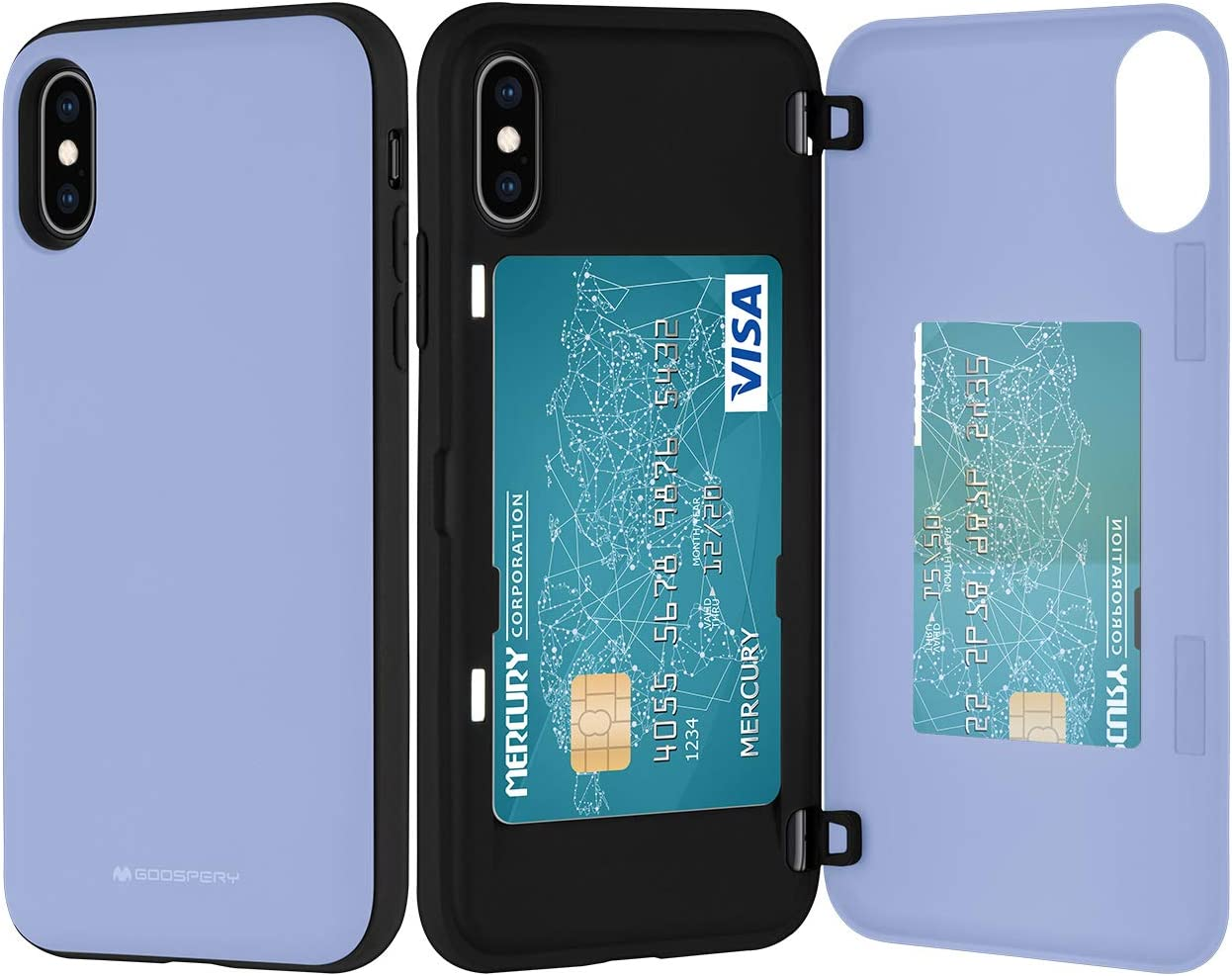 Goospery iPhone Xs Case, iPhone X Wallet Case with Card Holder, Protective Dual Layer Bumper Phone Case (Lilac Purple) IPX-MDB-PPL