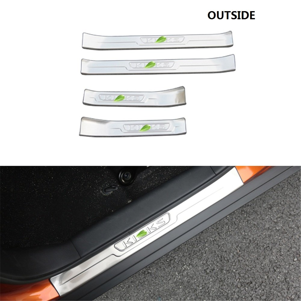 4Pcs Fits for Nissan Kicks 2018 2019 Door Sill Scuff Plate Guard Protector Trims