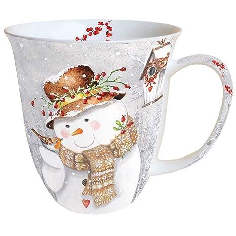 Porzellan Weihnachten.Ambiente Weihnachten Tasse Snowman Porzellan Becher Bone China Snowman Holding Robin Mug Tasse Fuer Tee Oder Kaffee Ca 0 4l Ideal Als Geschenk