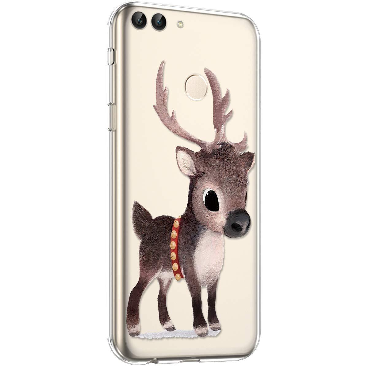 Surakey Silikon H/ülle f/ür Huawei P Smart H/ülle,Xmas Christmas Weihnachten Schneeflocke Muster Ultra D/ünn Durchsichtig TPU Silikon Handyh/ülle Schutzh/ülle Case Cover f/ür Huawei P Smart