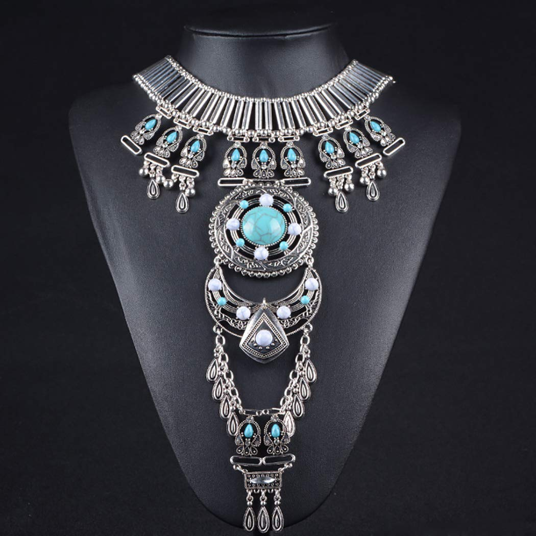 FunPa Statement Necklace Fashion Vintage Alloy Necklace Bib Necklace with Waist Chain