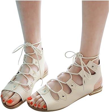 Women's Open Toe Gladiator Flat Lace-Up