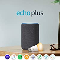 Echo Plus (2nd Gen) Premium sound with built-in Smart Home Hub (Charcoal) with Philips Hue Bulb