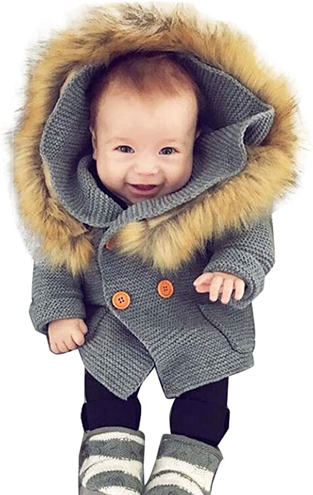 Winter Baby Coat,Fineser Cute Baby Boys Girls Solid Button Fur Collar Hooded Knitted Warm Tops Sweater Coat Clothes 3 Color