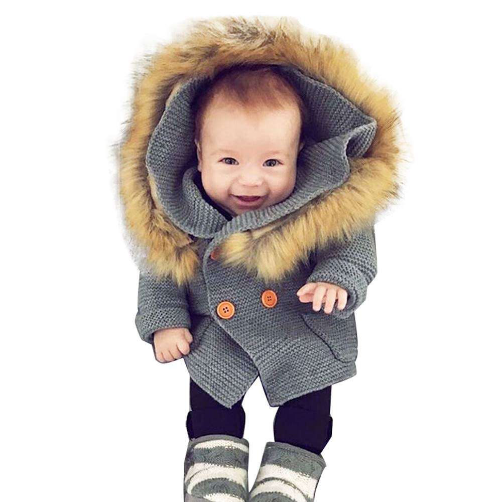 Felicy Toddler Infant Baby Boys Girls Long Sleeves Fur Collar Button Sweater Hooded Knitted Tops Warm Coat