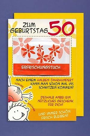 Karte 50 Geburtstag.Grusskarte 50 Geburtstag Karte Humor Applikation Erfrischungstuch C6