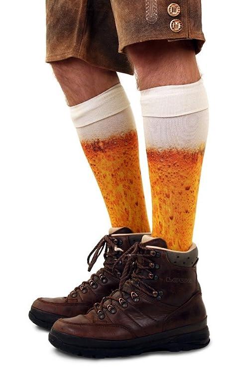 shoperama Kniestrümpfe mit Bier Druck Socken Herren Damen Strümpfe Karneval Verkleidung Party lustig Oktoberfest, Größe:39-42