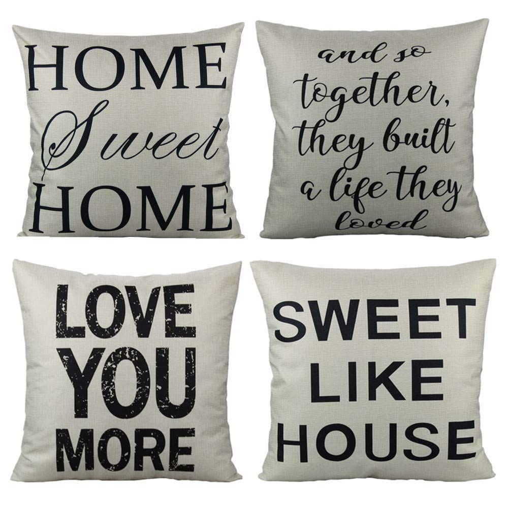 VAKADO Farmhouse Words Quote Throw Pillow Covers Cases Decorative Rustic Country Home Sweet Home Decor 18x18 Set of 4 for Couch Sofa, and So Together They Built a Life They Loved