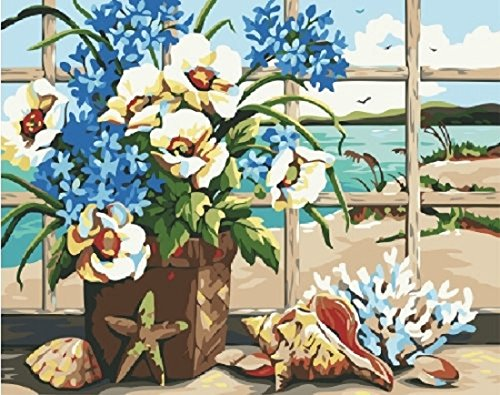 (Dorara DIY Oil Painting for Adults Kids Paint By Number Kit Digital Oil Painting Seaside Still Life 16x20 Inches)
