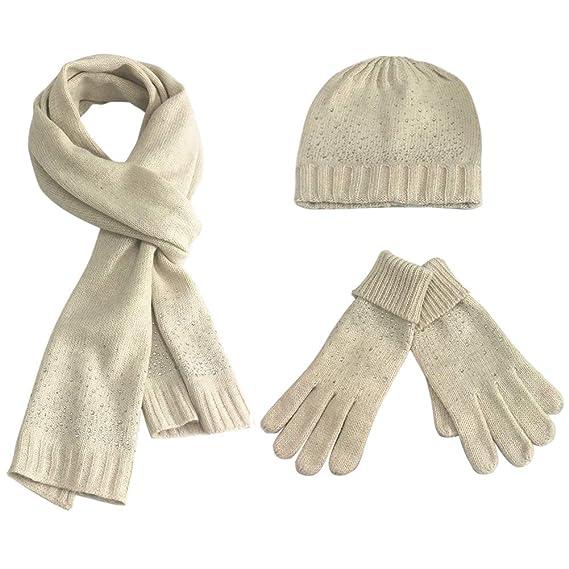 FEOYA - Ensemble bonnet, écharpe et gants - Femme - Beige - Taille unique 862247ea853