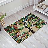 Infinidesign Welcome Doormat Kitchen Floor Bath Entrance Mat Rug Indoor/Front Door Thin Mats Rubber Non Slip 32''x20'' Colorful Spring Tree Of Life