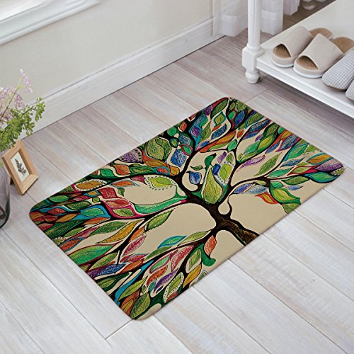 Infinidesign Welcome Doormat Kitchen Floor Bath Entrance Mat Rug Indoor/Front Door Thin Mats Rubber Non Slip 32''x20'' Colorful Spring Tree Of Life by Infinidesign