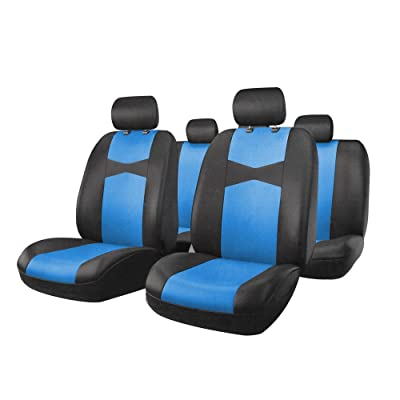 Rownfur Car Seat Cover polyester cloth Bucket Set for Car, Truck, Van, SUV - Gray/Black (blue): Automotive