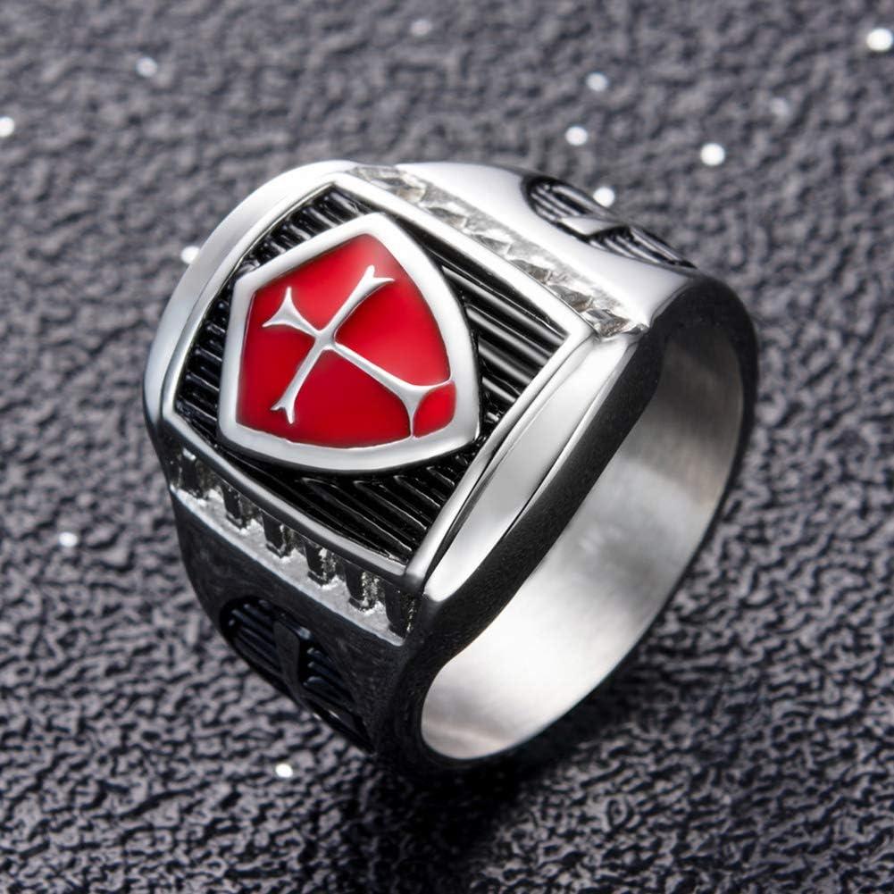 WE-WIN Bague chevali/ère Homme Templier Vintage Rouge en Acier Inoxydable Chevaliers Templiers Rouge et Noir Croix pour Bague Homme 7-14