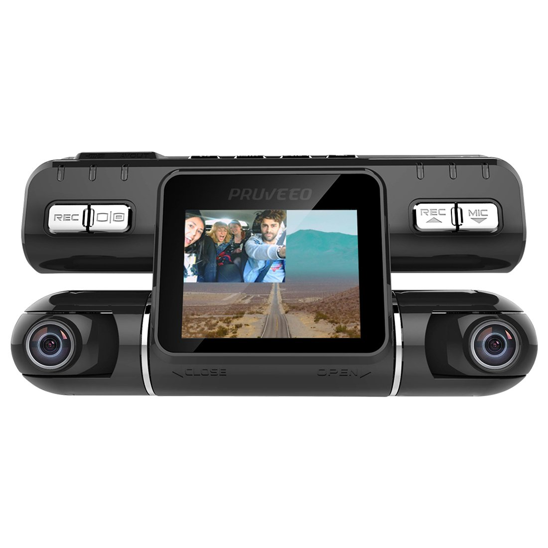 Pruveeo MX2 Dash Cam Front and Rear Dual Camera for Cars, 240 Degree Wide Angle Driving Recorder DVR