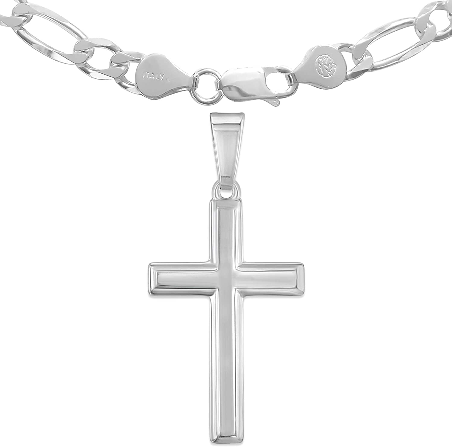Mens Heavy Solid STERLING SILVER Chain Necklace Bracelet And Crucifix Mens Jewelry Cross Pendant Gift For Him Vintage Figaro Italian Link