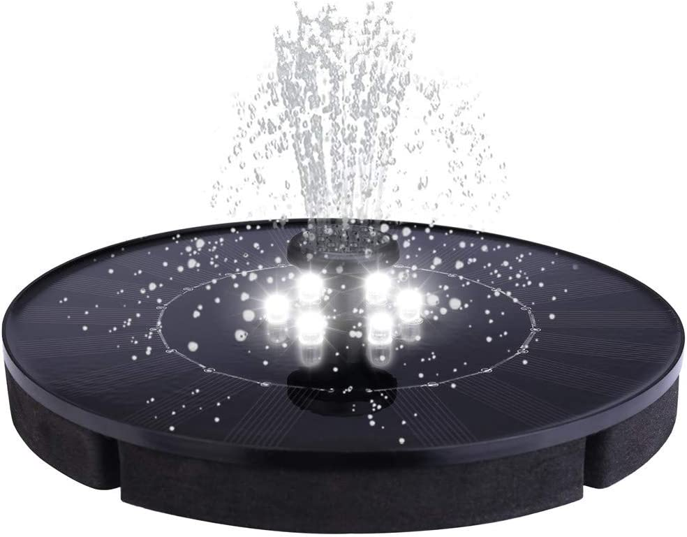 Pequeña Fuente, Bomba Solar LeeMon con luz LED, Bird Bath Fountain Water Floating Pond Garden Patio Decor