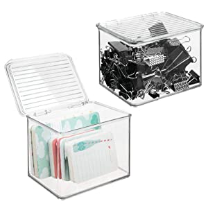"""mDesign Small Stackable Plastic Storage Bin Box with Hinged Lid - Organizer for Office Supplies, Paperclips, Highlighters, Dry Erase Markers, Sticky Notes, Memo Pads - 5"""" High, 2 Pack - Clear"""