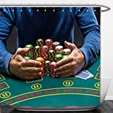 Interestlee Shower Curtain poker player taking poker chips after winning 366651875
