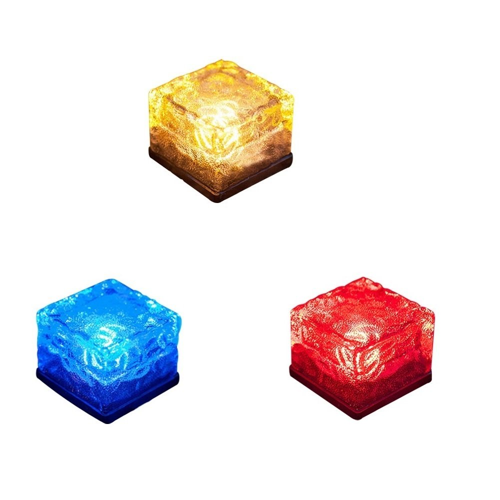 3 Pack Solar Path Ice Cube Lights, Youqian Waterproof Color Changing in-Groud Buried LED Frosted Glass Brick Rock Lamp for Outdoor Pathway Patio Yard Decoration
