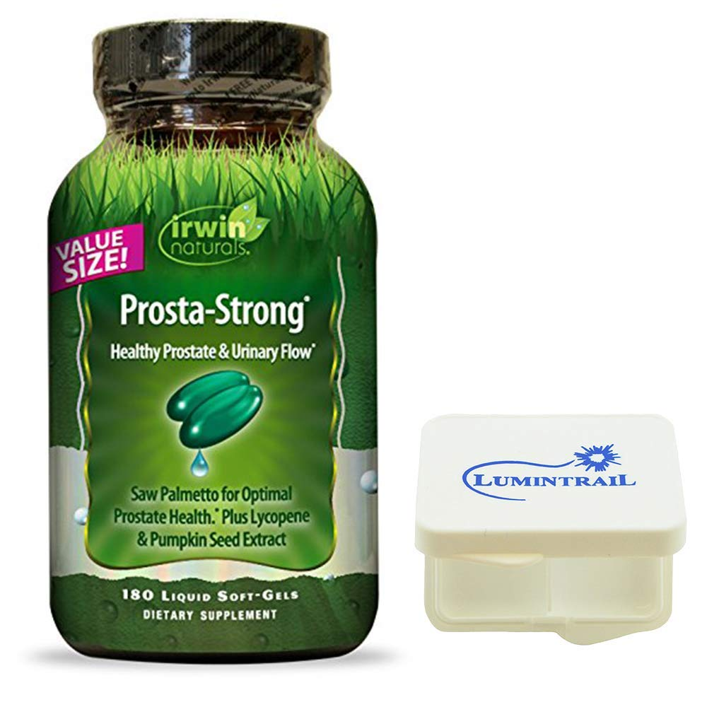 Irwin Naturals Prosta Strong Supplement, Supports Prostate Health and Urinary Flow – 180 Liquid Softgels Bundle with a Lumintrail Pill Case